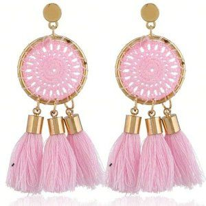 Gold Tone Pink Dream Catcher Boho Tassel Earrings